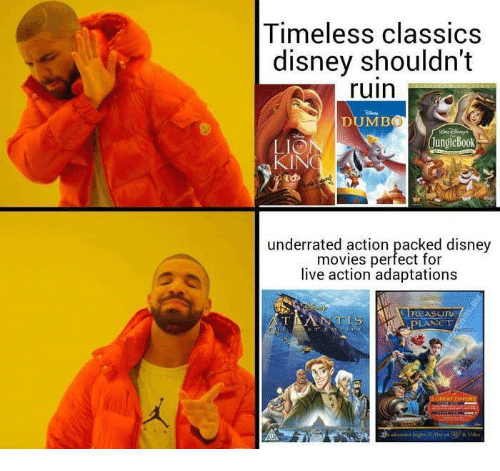 Disney, Movies, and Disney Movies: Timeless classics  disney shouldn't  ruin  DUMB0  LIO  JungleBook  underrated action packed disney  movies perfect for  live action adaptations  I REASuru