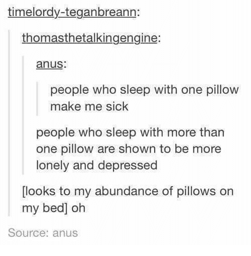 Humans of Tumblr, Sick, and Sleep: timelordy-teganbreann:  thomasthetalkingengine:  anus:  people who sleep with one pillow  make me sick  people who sleep with more than  one pillow are shown to be more  lonely and depressed  looks to my abundance of pillows on  my bed] oh  Source: anus