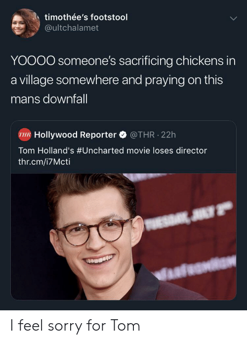Sorry, Movie, and Uncharted: timothée's footstool  @ultchalamet  YOOOO someone's sacrificing chickens in  a village somewhere and praying on this  mans downfall  Hollywood Reporter  @THR 22h  Tom Holland's #Uncharted movie loses director  thr.cm/i7Mcti  JULY 2 I feel sorry for Tom