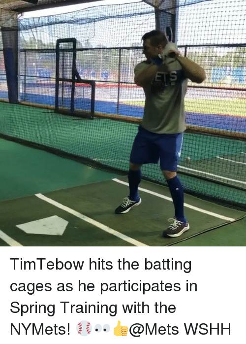 Memes, Wshh, and Mets: TimTebow hits the batting cages as he participates in Spring Training with the NYMets! ⚾️👀👍@Mets WSHH