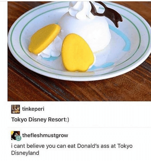 Ass, Disney, and Disneyland: tinkeperi  Tokyo Disney Resort:)  i cant believe you can eat Donald's ass at Tokyo  Disneyland