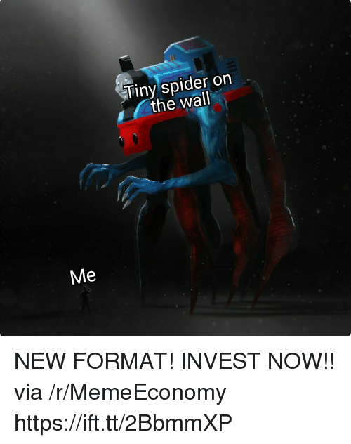 Spider, Invest, and The Wall: Tiny spider on  the wall  Me NEW FORMAT! INVEST NOW!! via /r/MemeEconomy https://ift.tt/2BbmmXP