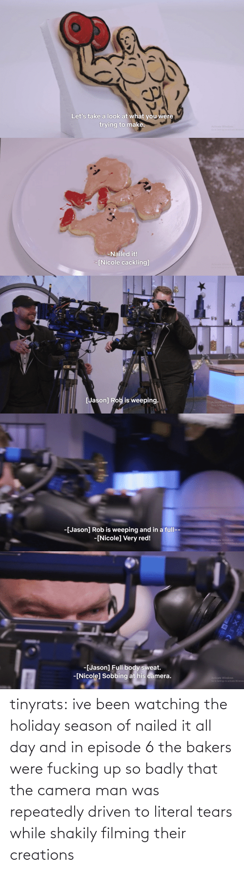 Target, Tumblr, and Blog: tinyrats:  ive been watching the holiday season of nailed it all day and in episode 6 the bakers were fucking up so badly that the camera man was repeatedly driven to literal tears while shakily filming their creations