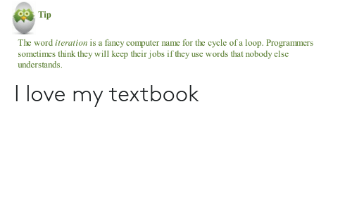 Love, Computer, and Fancy: Tip  The word iteration is a fancy computer name for the cycle of a loop. Programmers  sometimes think they will keep their jobs if they use words that nobody else  understands. I love my textbook