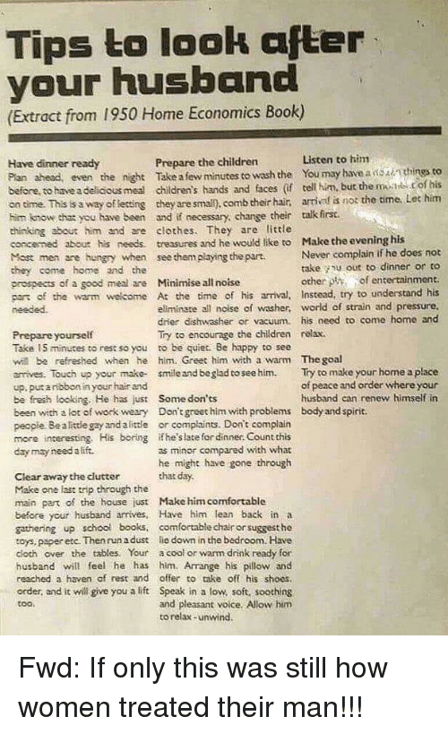 Tips To Look Afler Your Husband Extract From 1950 Home Economics
