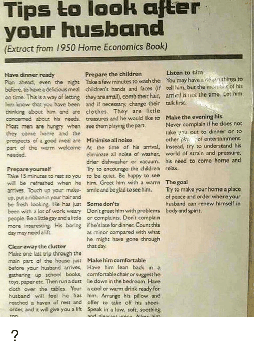 Tips To Look After Your Husband Extract From 1950 Home