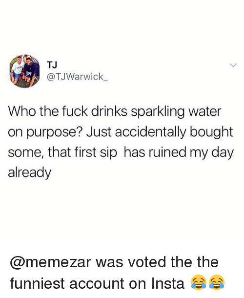 Memes, Fuck, and Water: TJ  @TJWarwick  Who the fuck drinks sparkling water  on purpose? Just accidentally bought  some, that first sip has ruined my day  already @memezar was voted the the funniest account on Insta 😂😂