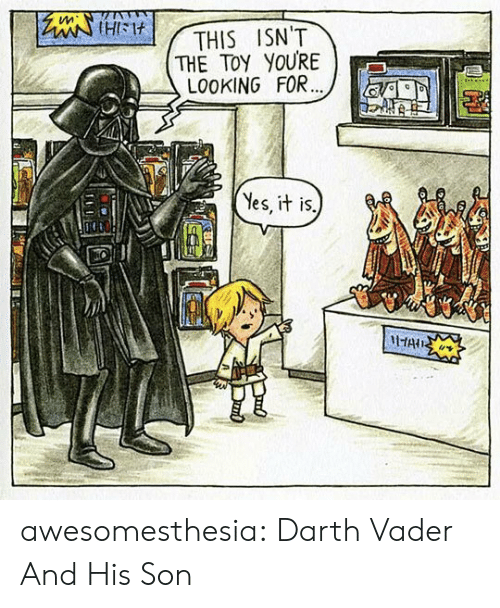 Darth Vader, Tumblr, and Blog: tleiHIM  THE TOY YOURE  LO0KING FOR...  THIS ISN'T  Yes, it is.  HAIS awesomesthesia:  Darth Vader And His Son