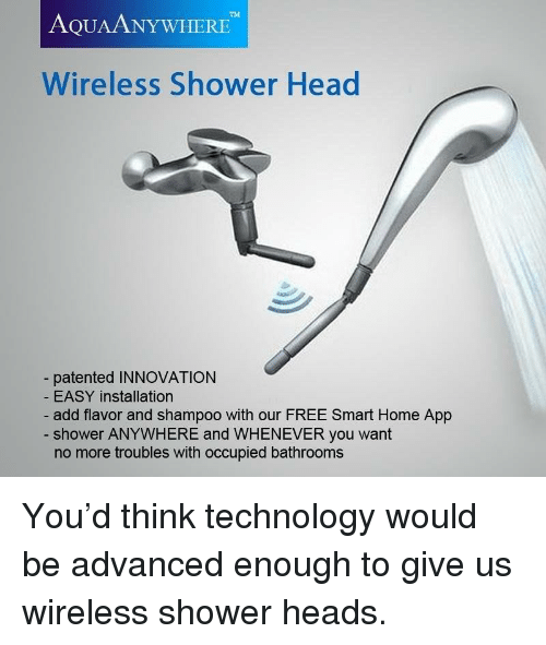 Funny, Head, And Shower: TM AQUAANYWHERE Wireless Shower Head Patented  INNOVATION EASY Installation