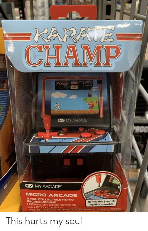 Inch, Micro, and Soul: TM  CHAMP  MY ARCADE  MICRO ARCADE  6 INCH COLLECTIBLE RETRO  ARCADE MACHINE  Removable joystick  Joystick amovible This hurts my soul