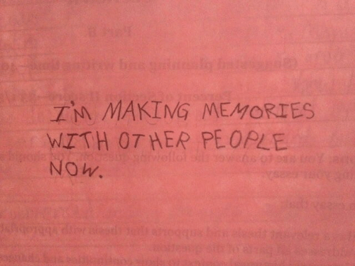 Her, Memories, and Now: TM MAKIMG MEMORIES  MITTH OT HER PEOPLE  NOw.