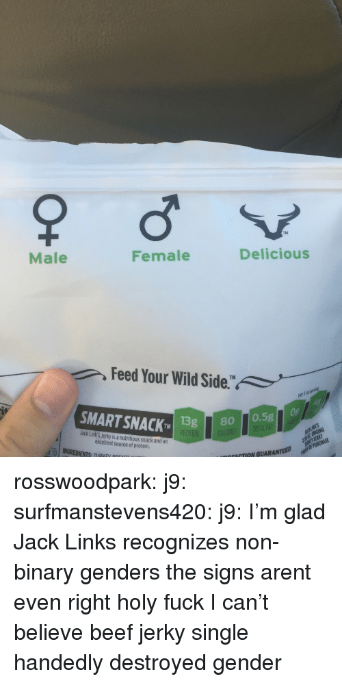 Beef, Protein, and Target: TM  Male  Female  Delicious  Feed Your Wild Side.  1 0t  SMART SNACK 1  TMISg80 0.5g  Jack Link's Jerky is a nutritious snack and an  excellent source of protein  ut-10   INGREDIENTS, TIIRKEV ppr  ACTION GUARANTEED rosswoodpark: j9:  surfmanstevens420:  j9:  I'm glad Jack Links recognizes non-binary genders  the signs arent even right  holy fuck   I can't believe beef jerky single handedly destroyed gender