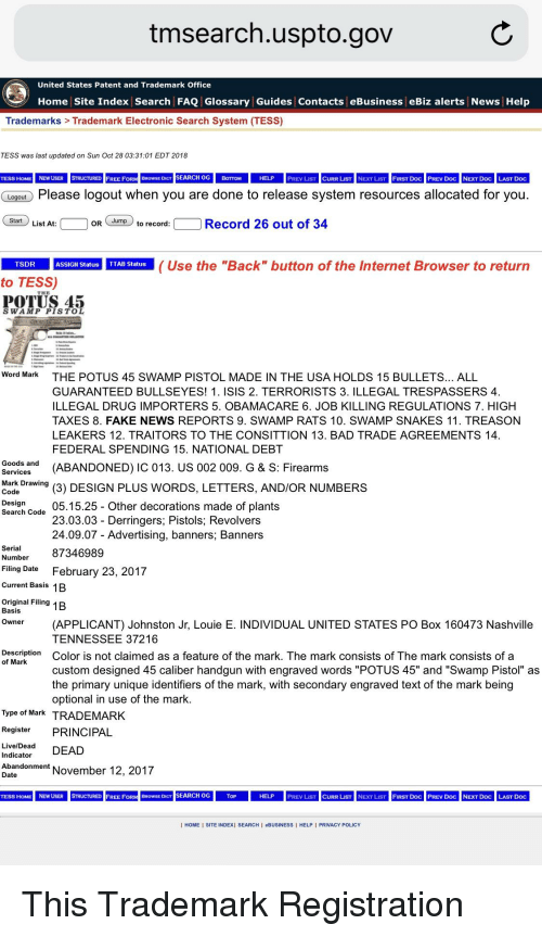 Tmsearchusptogov United States Patent and Trademark Office