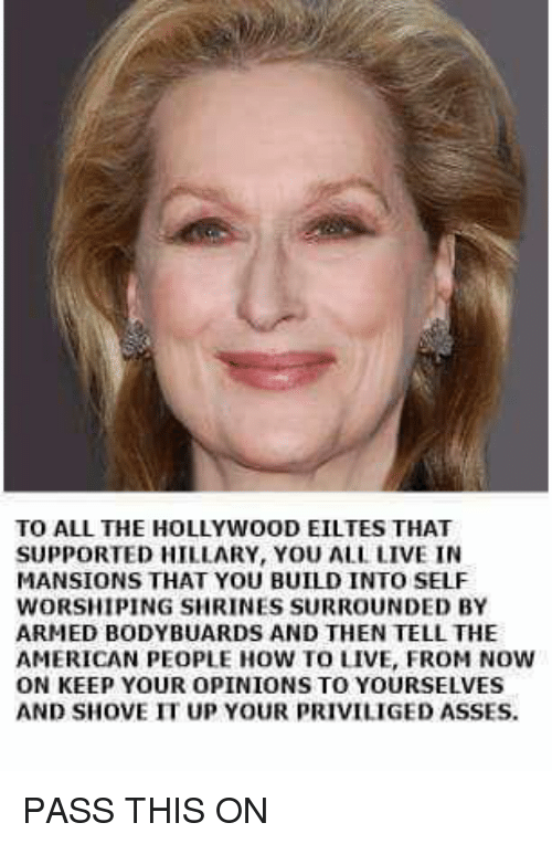 Memes, American, and How To: TO ALL THE HOLLYWOOD EILTES THAT  SUPPORTED HILLARY, YOU ALL LIVE IN  MANSIONS THAT YOU BUILD INTO SELF  WORSHIPING SHRINES SURROUNDED BY  ARMED BODY BUARDS AND THEN TELL THE  AMERICAN PEOPLE HOW TO LIVE, FROM NOW  ON KEEP YOUR OPINIONS TO YOURSELVES  AND SHOVE IT UP YOUR PRIVILIGED ASSES. PASS THIS ON