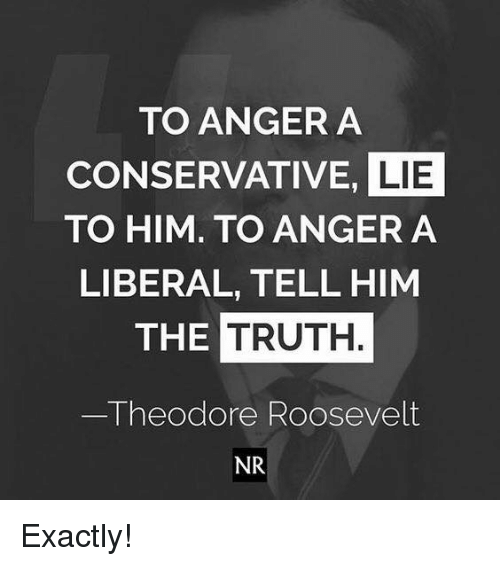 Memes, Conservative, and Truth: TO ANGER A  CONSERVATIVE, LIE  TO HIM. TO ANGER A  LIBERAL, TELL HIM  THE TRUTH.  Theodore Roosevelt  NR Exactly!