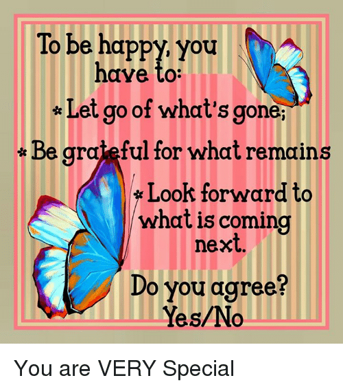 Memes, Happy, and What Is: To be happy, you  have to:  Let go of what's gone,  Be grateful for what remains  Look forward to  what is coming  next  Do you agree?  Yes/No You are VERY Special