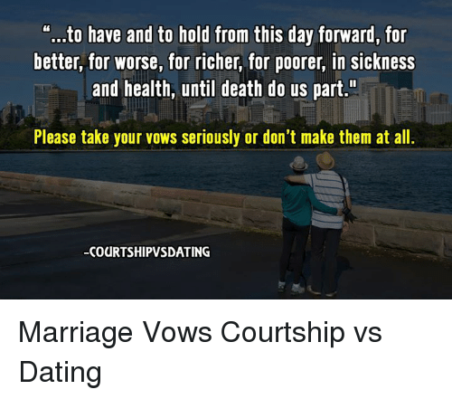 No dating but marriage vows