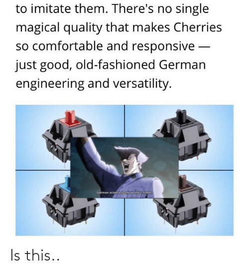 Comfortable, Good, and Engineering: to imitate them. There's no single  magical quality that makes Cherries  so comfortable and responsive -  just good, old-fashioned German  engineering and versatility.  German sciericeis the world's finest Is this..