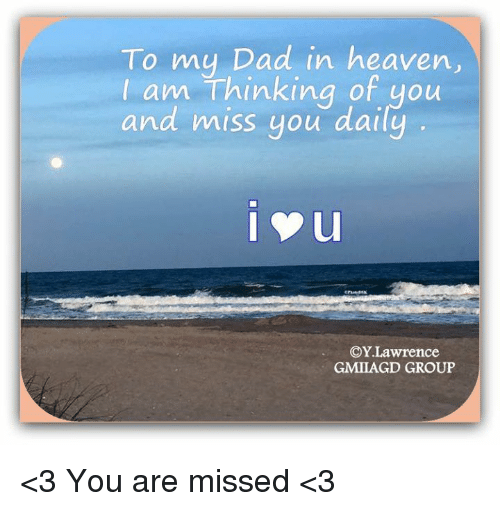 To My Dad in Heaven I Am Thinking of You and Miss You Daily