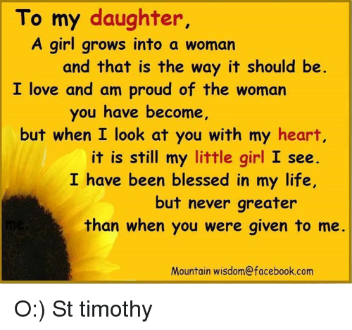 blessed facebook and girls to my daughter a girl grows into a