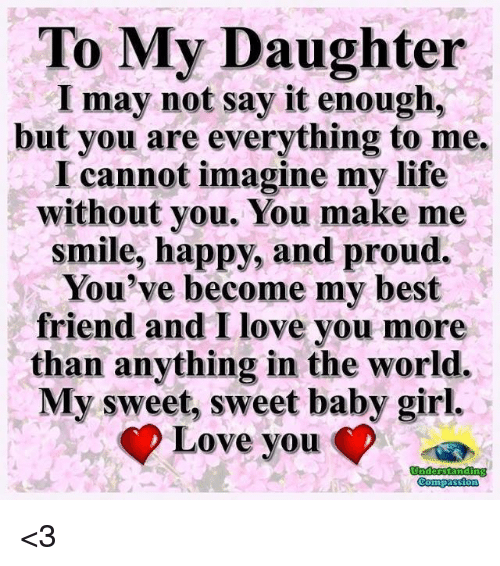 To My Daughter I May Not Say It Enough But You Are Everything To Me