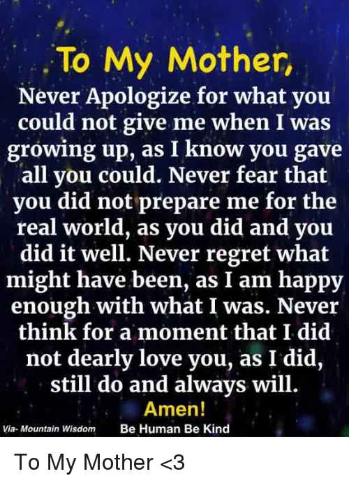 To My Mother Never Apologize for What Yoiu Could Not Give Me
