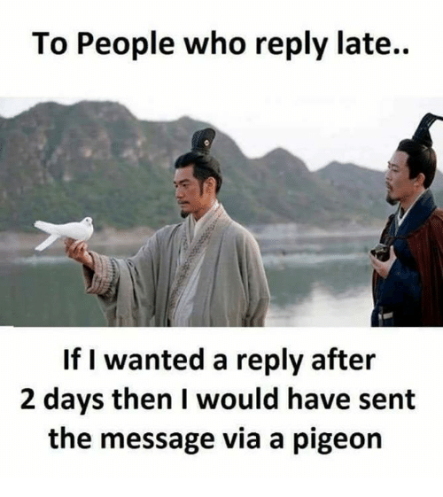 Memes, 🤖, and Wanted: To People who reply late..  If I wanted a reply after  2 days then I would have sent  the message via a pigeon