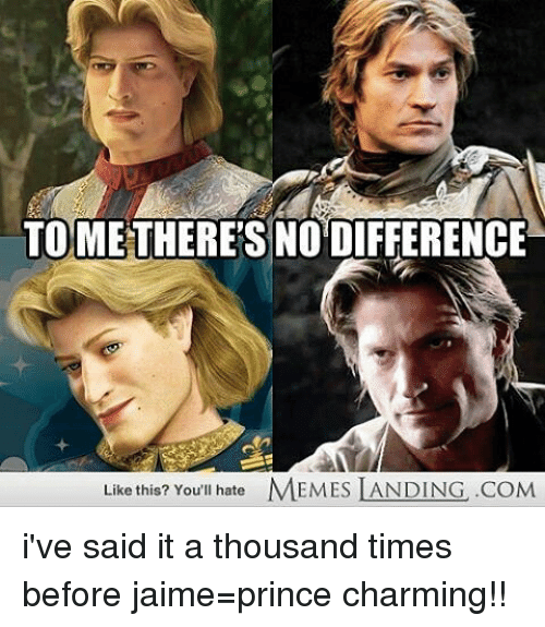 Memes, Prince, and Charming: TO THERES NO DIFFERENCE  Like this? You'll hate  MEMES LANDING .COM i've said it a thousand times before jaime=prince charming!!