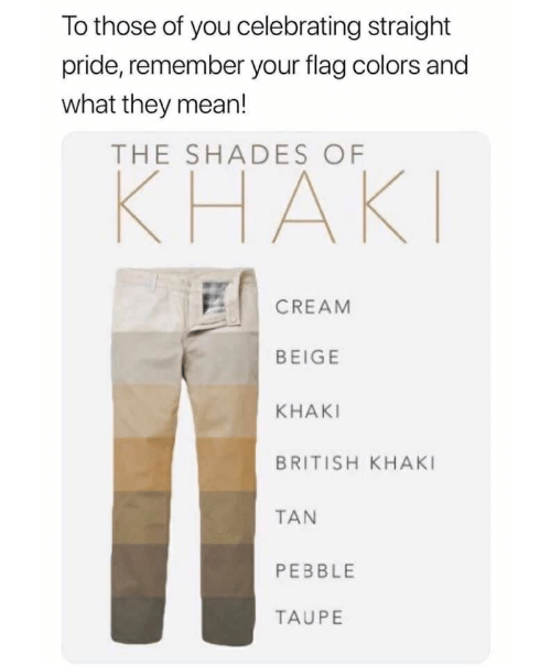 Mean, British, and Cream: To those of you celebrating straight  pride, remember your flag colors and  what they mean!  THE SHADES OF  КНАКI  CREAM  BEIGE  KHAKI  BRITISH KHAKI  TAN  PEBBLE  TAUPE