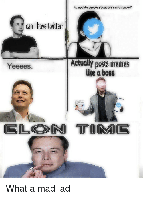 Memes, Twitter, and Spacex: to update people about tesla and spacex?  can Ihave twitter?  Actually posts memes  like a boss  Yeeees.  6  ELON TOME