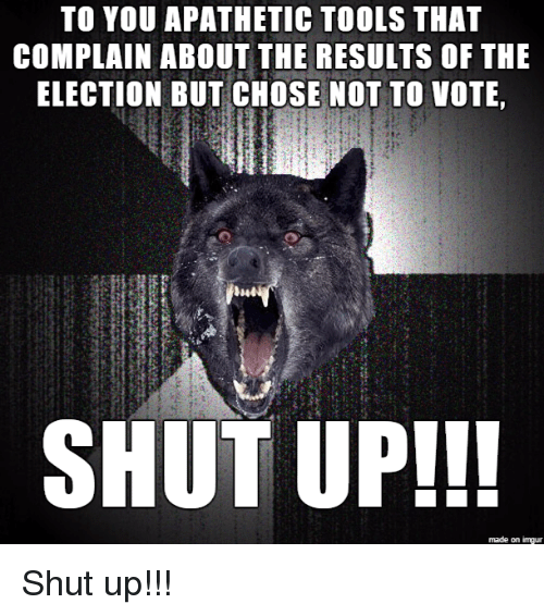 Shut Up, Imgur, and Tool: TO YOU APATHETIC TOOLS THAT  COMPLAIN ABOUT THE RESULTS OF THE  ELECTION BUT CHOSE NOT TO VOTE,  SHUT UP!!!  made on imgur Shut up!!!