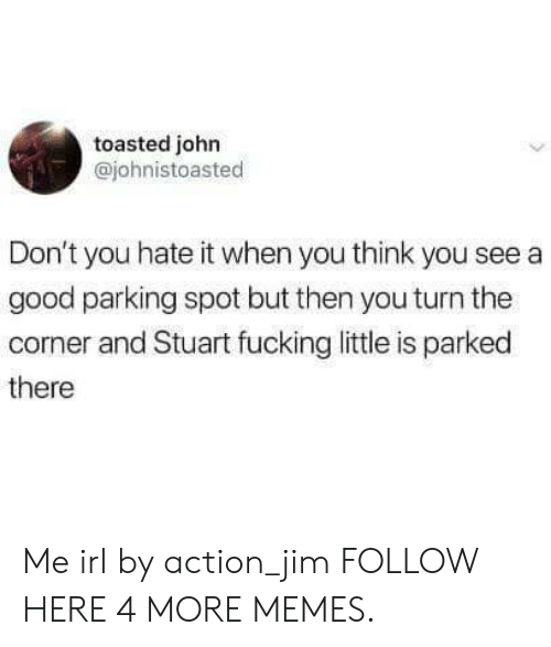 Dank, Memes, and Target: toasted john  @johnistoasted  Don't you hate it when you think you see a  good parking spot but then you turn the  corner and Stuart fucking little is parked  there Me irl by action_jim FOLLOW HERE 4 MORE MEMES.