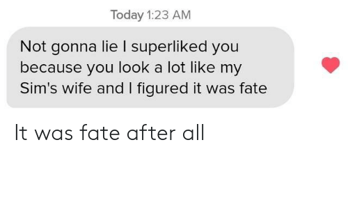 Sims, Today, and Wife: Today 1:23 AM  Not gonna lie I superliked you  because you look a lot like my  Sim's wife and I figured it was fate It was fate after all