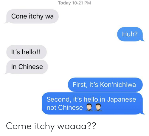 Today 1021 Pm Cone Itchy Wa Huh It S Hello In Chinese First It S Kon Nichiwa Second It S Hello In Japanese Not Chinese Come Itchy Waaaa Hello Meme On Me Me