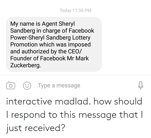 Facebook, Lottery, and Mark Zuckerberg: Today 11:35 PM  My name is Agent Sheryl  Sandberg in charge of Facebook  Power-Sheryl Sandberg Lottery  Promotion which was imposed  and authorized by the CEO/  Founder of Facebook Mr Mark  Zuckerberg.  Type a message interactive madlad. how should I respond to this message that I just received?