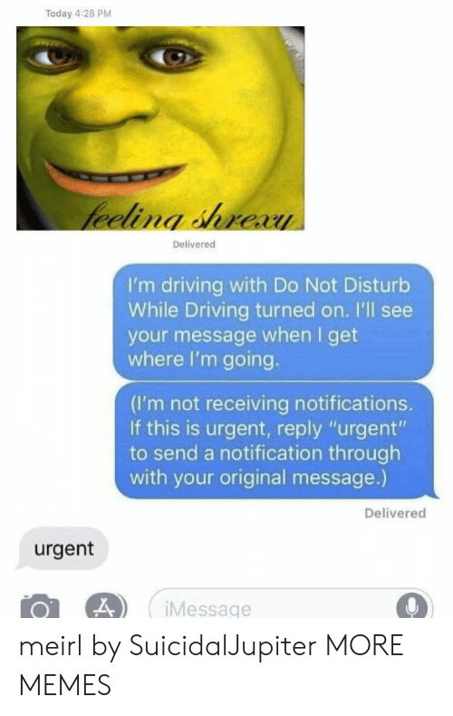 """Dank, Driving, and Memes: Today 4:28 PM  Delivered  I'm driving with Do Not Disturb  While Driving turned on. I'll see  your message when I get  where I'm going.  (I'm not receiving notifications.  If this is urgent, reply """"urgent""""  to send a notification through  with your original message.)  Delivered  urgent  Message meirl by SuicidalJupiter MORE MEMES"""