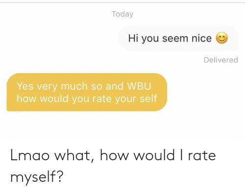 Lmao, Today, and Nice: Today  Hi you seem nice  Delivered  Yes very much so and WBU  how would you rate your self Lmao what, how would I rate myself?