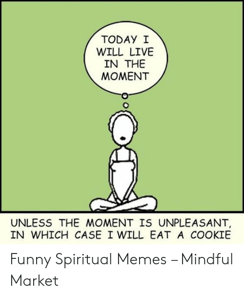 Funny, Memes, and Live: TODAY I  WILL LIVE  IN THE  MOMENT  UNLESS THE MOMENT IS UNPLEASANT,  IN WHICH CASE I WILL EAT A COOKIE Funny Spiritual Memes – Mindful Market