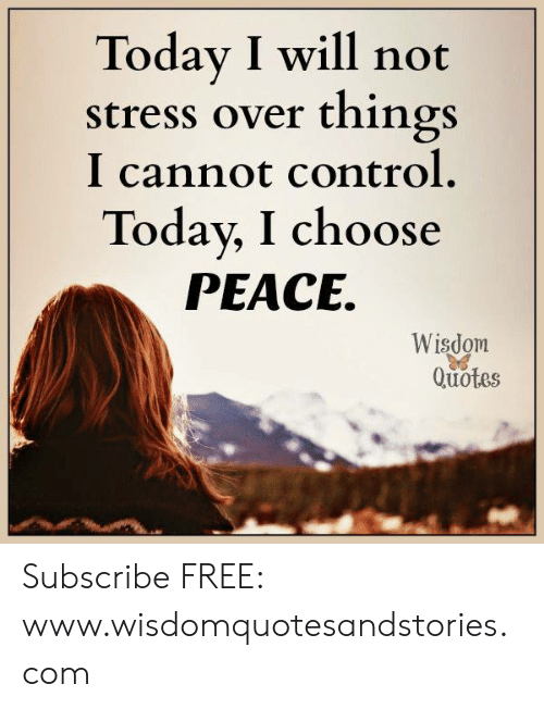 Today I Will Not Stress Over Things I Cannot Control Today I Choose