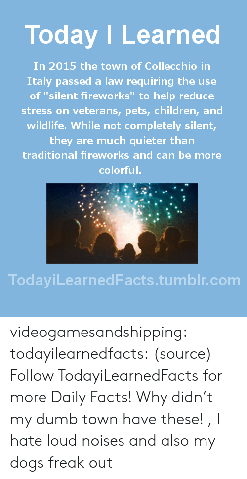 "Children, Dogs, and Dumb: Today ILearned  In 2015 the town of Collecchio in  Italy passed a law requiring the use  of ""silent fireworks"" to help reduce  stress on veterans, pets, children, and  wildlife. While not completely silent,  they are much quieter than  traditional fireworks and can be more  colorful.  TodayiLearnedFacts.tumblr.com videogamesandshipping: todayilearnedfacts:  (source) Follow TodayiLearnedFacts for more Daily Facts!   Why didn't my dumb town have these! , I hate loud noises and also my dogs freak out"