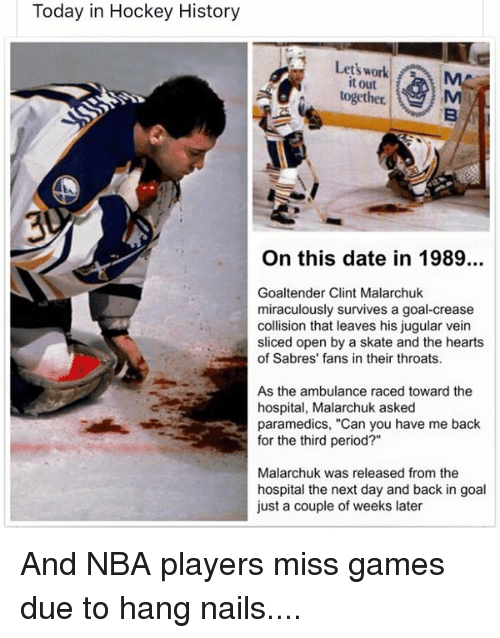 Today In Hockey History Let S Work F Ma It Out Together On This Date