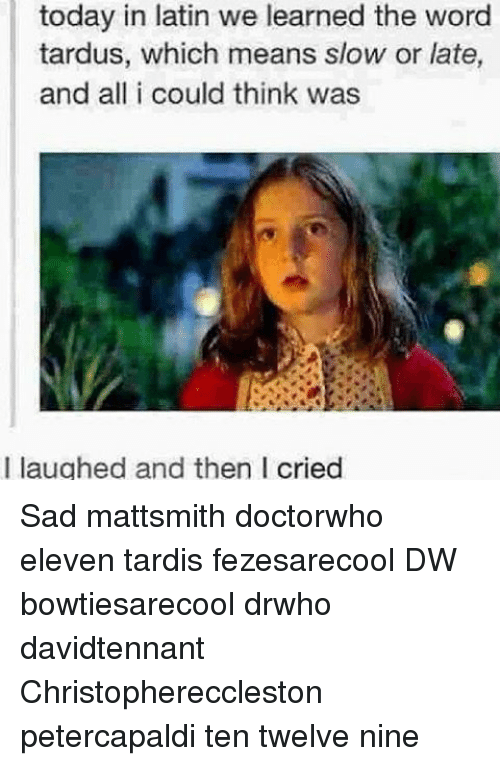 Memes, Tardis, and Today: today in latin we learned the word  tardus, which means slow or late,  and all i could think was  I laughed and then I cried Sad mattsmith doctorwho eleven tardis fezesarecool DW bowtiesarecool drwho davidtennant Christophereccleston petercapaldi ten twelve nine