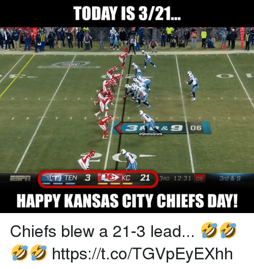 Kansas City Chiefs, Chiefs, and Happy: TODAY IS 3/21  10  @GhettoGronk  HAPPY KANSAS CITY CHIEFS DAY! Chiefs blew a 21-3 lead... 🤣🤣🤣🤣 https://t.co/TGVpEyEXhh