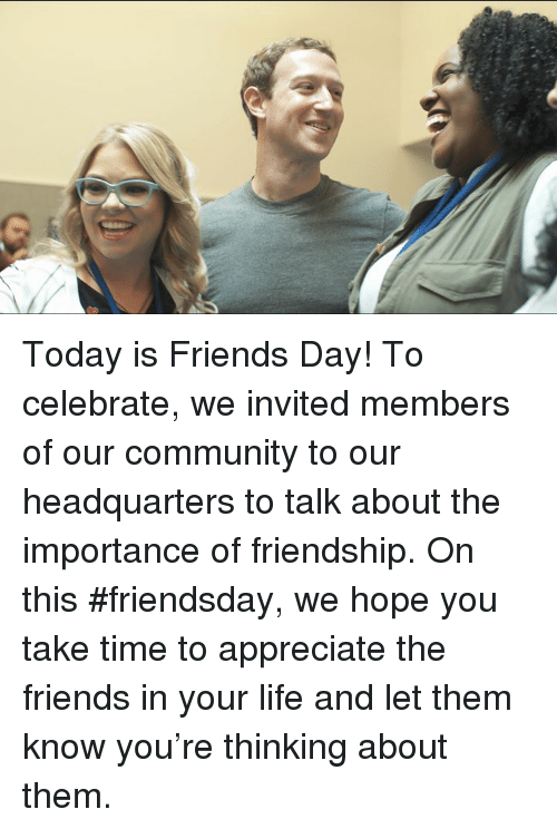 Dank, 🤖, and Friends Day: Today is Friends Day! To celebrate, we invited members of our community to our headquarters to talk about the importance of friendship. On this #friendsday, we hope you take time to appreciate the friends in your life and let them know you're thinking about them.