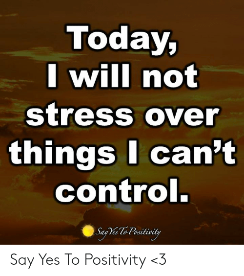 Memes, Control, and Today: Today,  Iwill not  StreSS OVer  things I can't  control  es LOt osit Say Yes To Positivity <3