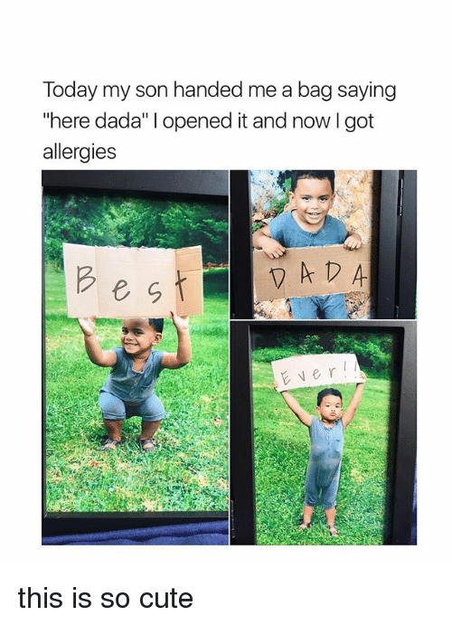 """Cute, Today, and Girl Memes: Today my son handed me a bag saying  """"here dada"""" l opened it and now l got  allergies this is so cute"""