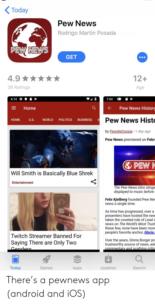 Android, Martin, and Music: Today  Pew News  Rodrigo Martin Posada  PEW NEWS  GET  4.9  28 Ratings  12+  Age  Home  a  Pew News Histor  Pew News Hist  by PewdieOopsie- 1 day ago  Pew News premiered on Febr  HOME US  WORLD POLITICS BUSINESS OD  PEW  Will Smith is Basically Blue Shrek  Entertainment  The Pew News intro stinge  displayed to music before  Felix Kjellberg founded Pew Nev  news a single time.  As time has progressed, over a  presenters have hosted the new  taken the coveted role of Lead A  news on The World's Most Trust  these few, none have been more  people's favorite anchor, Gloria  Twitch Streamer Banned For  Saying There are Only Two  Over the years, Gloria Borger pro  trustworthy source of news, ade  Today  Games  Apps  Updates  Search There's a pewnews app (android and iOS)