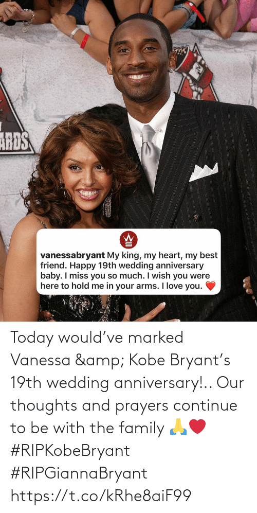 Family, Kobe Bryant, and Kobe: Today would've marked Vanessa & Kobe Bryant's 19th wedding anniversary!.. Our thoughts and prayers continue to be with the family 🙏❤️ #RIPKobeBryant #RIPGiannaBryant https://t.co/kRhe8aiF99