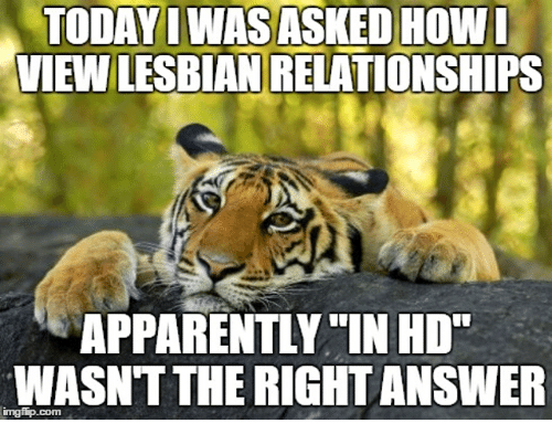 "Apparently, Relationships, and Lesbian: TODAYI WAS ASKED HOWI  VIEW LESBIAN RELATIONSHIPS  APPARENTLY IN HD""  WASNT THE RIGHT ANSWER  imgfip.com"