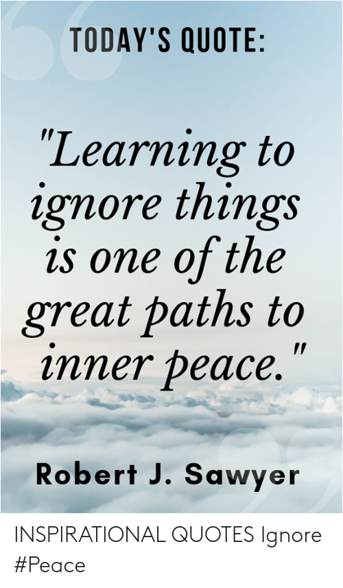 today s quote learning to ignore things is one of the great paths